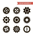 Flat Design Style Black Gear Wheels Icons Set vector image