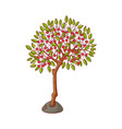 flat green abstract tree with foliage icon vector image vector image