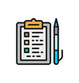 folder tablet with documents and pen flat color vector image