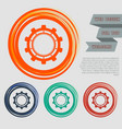 gear cog icon on the red blue green orange vector image vector image