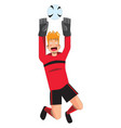 goalkeeper catches ball on white background vector image