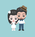 groom and bridge holding hand vector image vector image