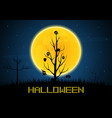 halloween mask hang on wither tree vector image vector image