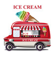 ice cream stand vehicle summer background vector image