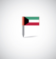 Kuwait flag pin vector image vector image