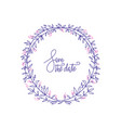 lavender color flowers decorative wreath with hand vector image vector image