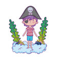 little pirate in clouds fairytale character vector image