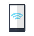 mobile phone with wireless sign icon isolated vector image vector image