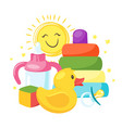 newborn kid toys and elements vector image
