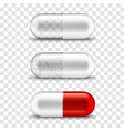 pill capsule 3d realistic red and transparent vector image