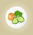 plate with pepper and greenery vector image
