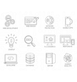 Programmer software developer thin line icons set vector image