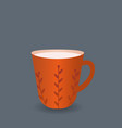 red coffee mug flat design style vector image
