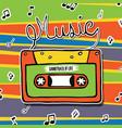 retro music cassette tape cartoon vector image vector image