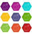 rhinopithecus icons set 9 vector image vector image
