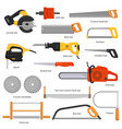 saw sawing equipment hand-saw hacksaw vector image