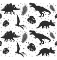 seamless pattern dinosaur and palm leaves vector image vector image