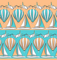seamless pattern with boat airplane air balloon vector image