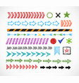 set of colored doodle arrow dividers pointers vector image