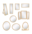 Set of mirrors isolated on white background vector image vector image