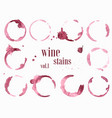 set of wine stains and splatters vector image vector image