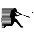 silhouette of a baseball player and barcode vector image