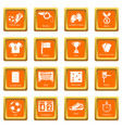 soccer football icons set orange square vector image vector image
