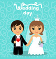 wedding card with the bride and groom on an vector image vector image