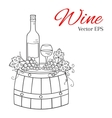 Wine bottle glass and grapes on wooden barrel vector image vector image