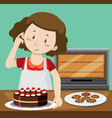 woman baking cake and cookies vector image
