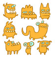 yellow monsters emoticons set vector image vector image