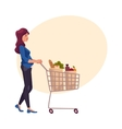 Young pregnant woman pushing shopping cart with vector image