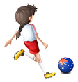 A lady using the ball with the flag of Australia vector image vector image