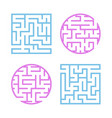 A set of colored labyrinths for children a square