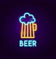 beer pub neon label vector image vector image