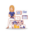 businesswoman with social media icons vector image