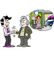 cartoon a old man there have buy a new auto car vector image vector image