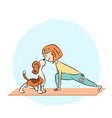 cartoon dog beagle with girl doing yoga vector image vector image