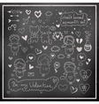 Chalk board romantic set in vector image