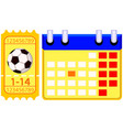 colorfull football soccer ticket calendar set vector image