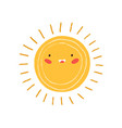 cute happy summer sun with rays childish drawing vector image vector image