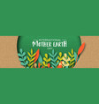 earth day banner of color leaves in recycled paper vector image vector image