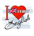 english language concept flag heart an vector image