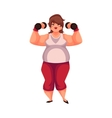 Fat woman training with dumbbells doing vector image vector image