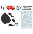 female breast spermatozoons icon with 1300 medical vector image vector image