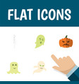 flat icon halloween set of skeleton phantom vector image
