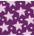 flowers pink stars on a purple background vector image vector image