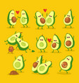 funny cartoon couples character avocado set vector image vector image