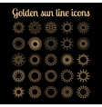 Golden sun thin line icons set vector image