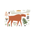 hand drawn horned moose character and forest vector image vector image